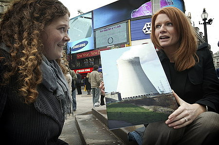 The RSC's Dr Helen Rowland (left) quizzes a member of the public about cooling towers