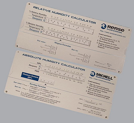 Michell Instruments has produced an absolute humidity and relative humidity slide rule